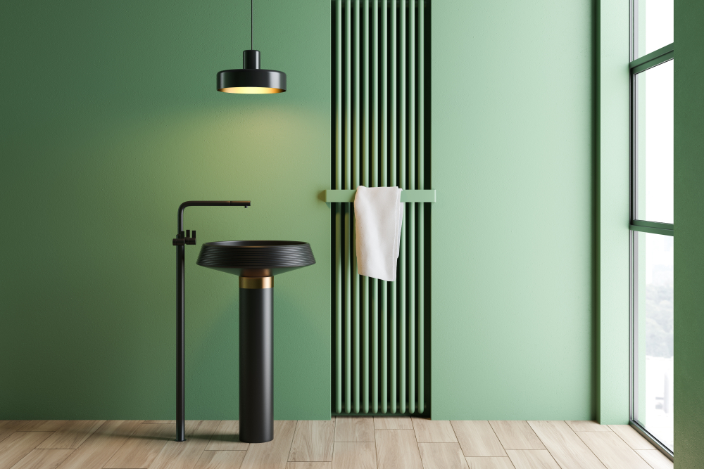 Green interior with black details